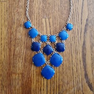 Gold Blue Lucite Statement Necklace Adjustable Sz